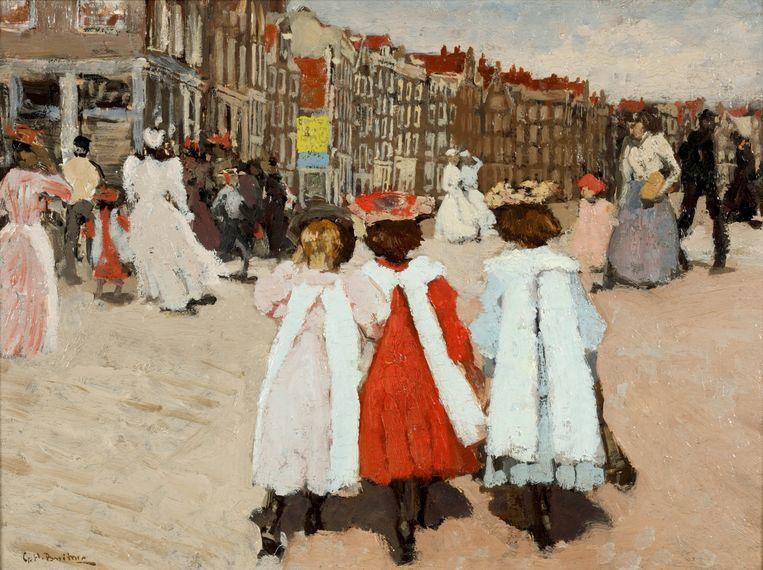 George Hendrik Breitner, Drie schoolmeisjes op de brug bij de Westermarkt, ca. 1895. Beeld Particuliere collectie