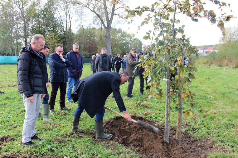 Joris Vandenhoucke, Jan Foulon, Wim Vandevelde en Ignace Michaux plantten in naam van het stadsbestuur een symbolische boom.