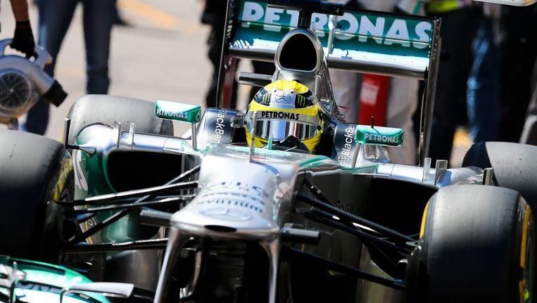 Nico Rosberg tijdens een trainingsronde gisteren op het circuit van Monte Carlo. Beeld epa