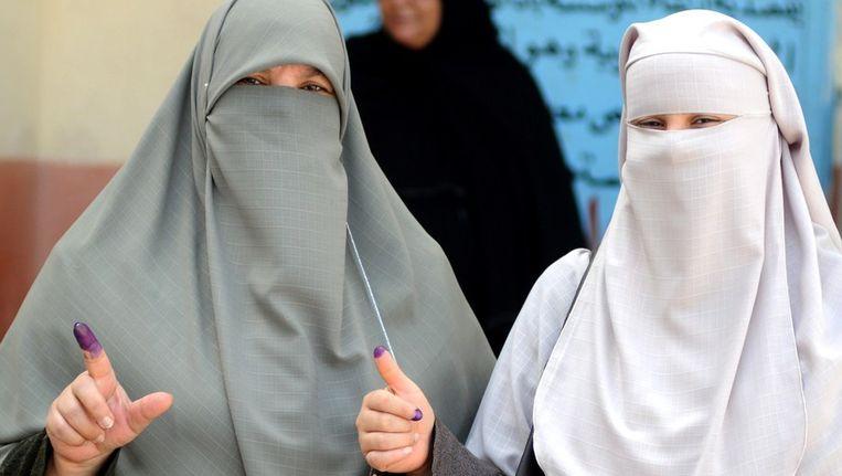 Egyptische vrouwen na het stemmen. Beeld afp