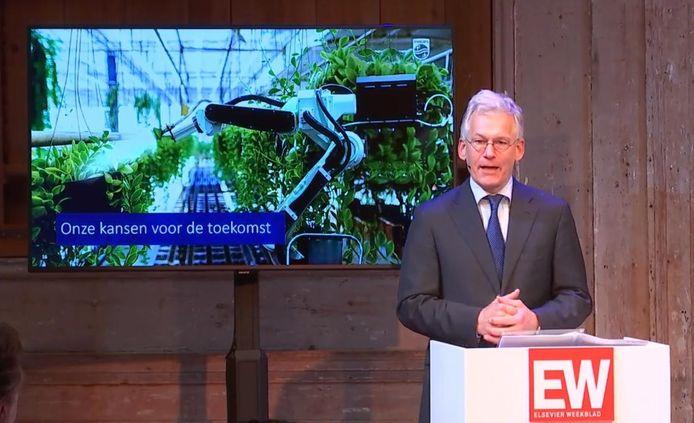 Frans van Houten tijdens de jaarlijkse economielezing van Elsevier Weekblad.
