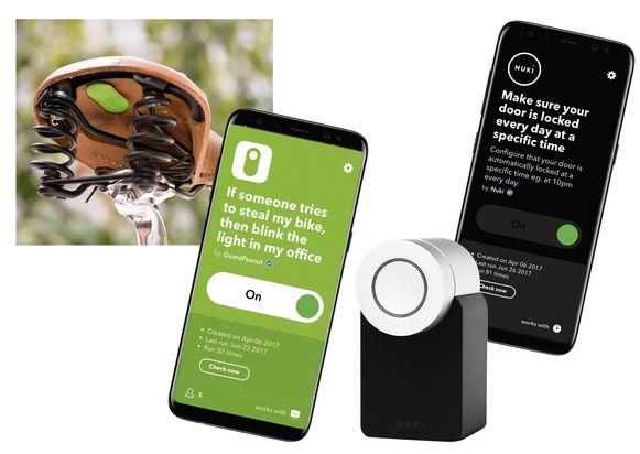 Voorbeeld van applicaties die werken met IFTTT, van een alert als iemand je fiets probeert te stelen tot automatische vergrendeling van je voordeur.