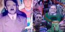 Links: Adolf Hitler gefotoshopt op een kartonnen bord. Rechts: seriemoordenaar Harold Shipman die via een plakkaat aanwezig was tijdens een Australische rugbywedstrijd.
