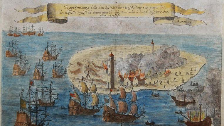 Op deze kopergravure van Gaspar Bouttats wordt de Engelse furie verbeeld. Beeld Rijksmuseum