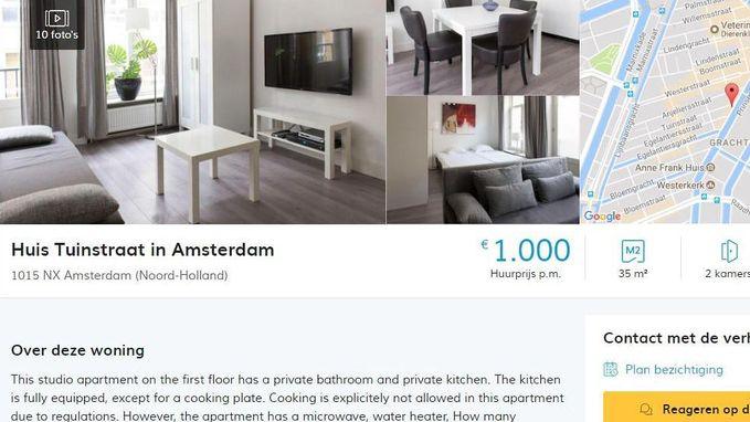 """Te huur in Amsterdam: piepkleine studio mét keuken, maar """"koken verboden"""". Maandprijs: 1.000 euro"""
