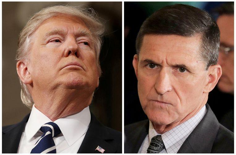 Oud-generaal Michael Flynn (R) was de nationale veiligheidsadviseur van president Donald Trump tussen 20 januari en 13 februari, slechts 24 dagen. Beeld REUTERS