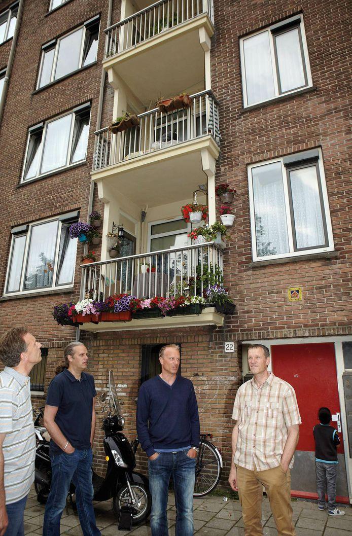 De Bergkamp-broers terug op de James Rosskade. vlnr links Wim, Marcel, Dennis en Ronald.