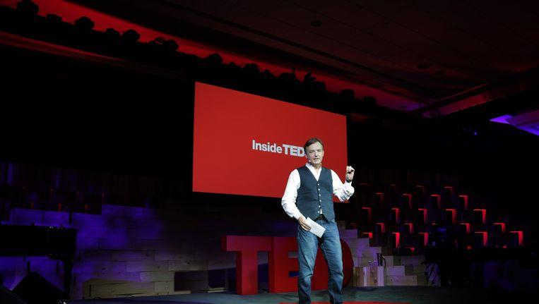 Chris Anderson aan het woord tijdens een TED-conferentie in 2014 in Vancouver. Beeld Getty Images