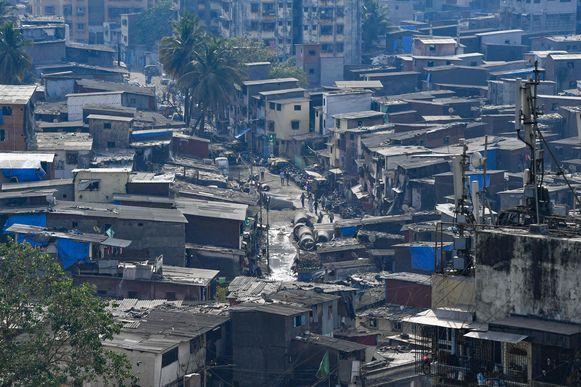 Een beel van de sloppenwijk Dharavi.
