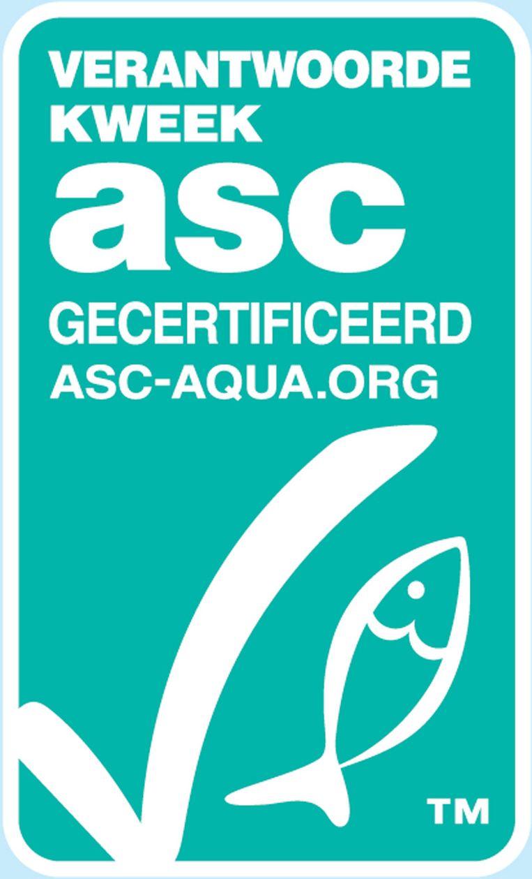 Het logo voor duurzame kweekvis. Beeld