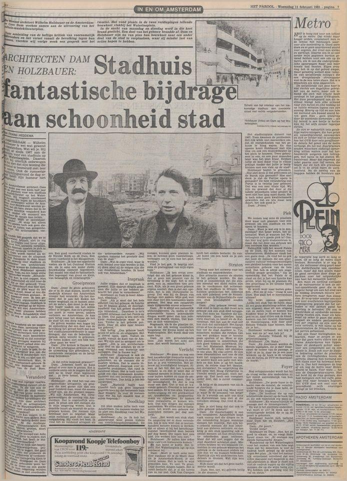 Het artikel in Het Parool over de plannen voor de Stopera.