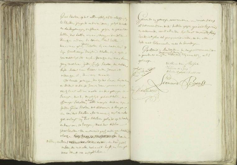Een bladzijde uit de akte van notaris Leonard Beels over Lijsje Scholten, met oa de passage over zus Griet Beeld .