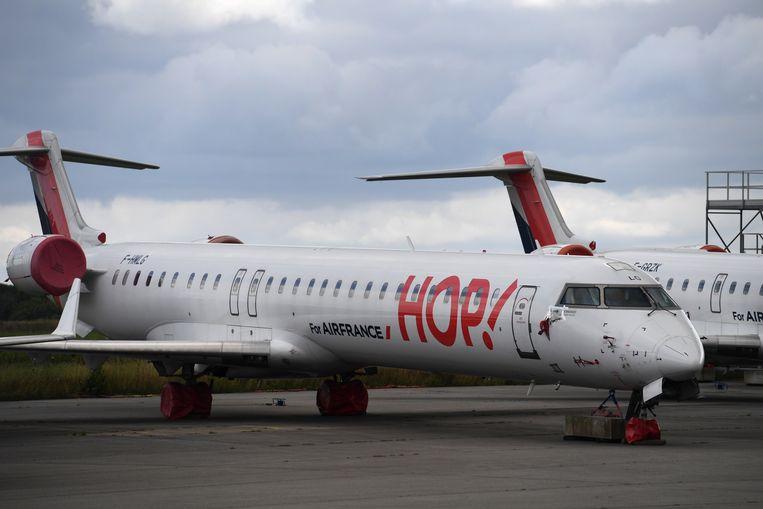 Een vliegtuig van Hop! aan de grond. Beeld Hollandse Hoogte / AFP