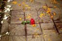 Bloemen op de plek waar Avijit Roy werd vermoord in Dhaka.
