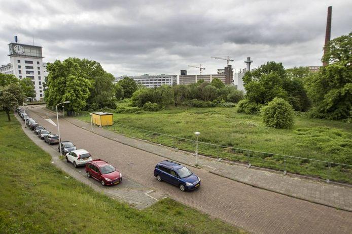 Het Gloeilampplantsoen gezien vanaf het spoor bij NS-station Strijp-S. Op de voorgrond de Achtseweg-Zuid, links het Klokgebouw op Strijp-S.