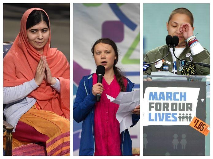 V.l.n.r.: Malala Yousafzai; Greta Thunberg en Emma Gonzalez