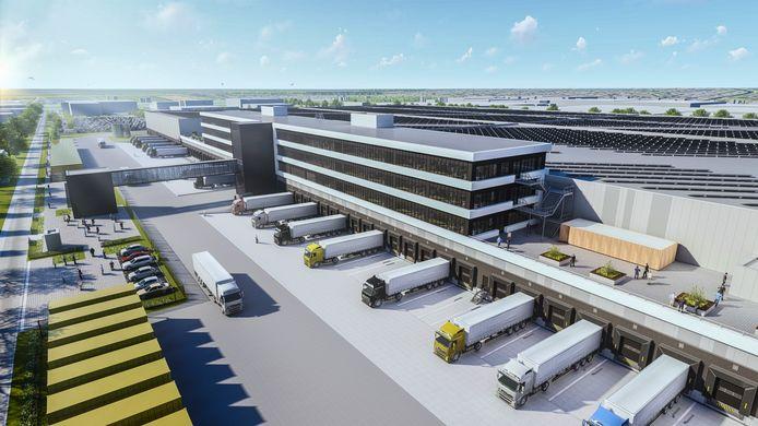 2019 Artist Impression van het nieuwe distributiecentrum van Zalando in Bleiswijk.