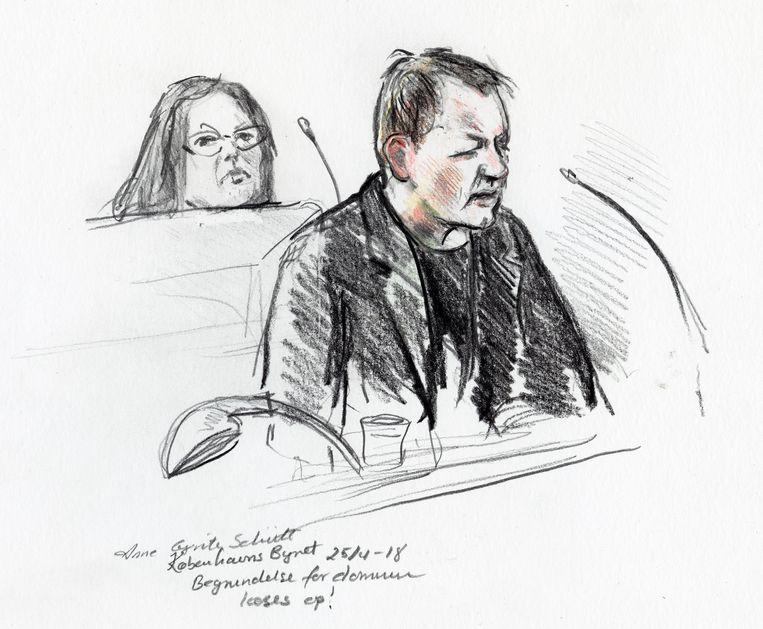 Een rechtbanktekening van Peter Madsen. Beeld Reuters