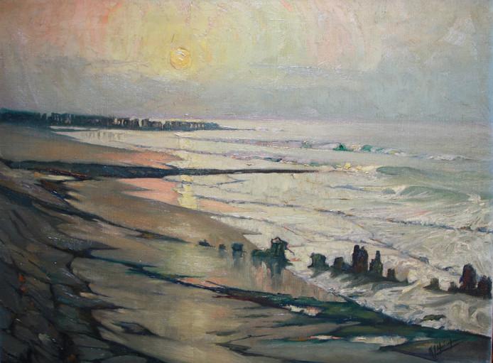 K.J. Huineman: Zonsondergang Westerschelde bij Terneuzen, ca. 1932, olieverf. collectie gemeente Terneuzen