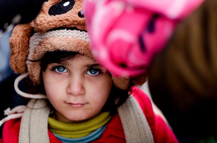 Vluchtelingen kind Griekenland vluchtelingenkamp Macedonië