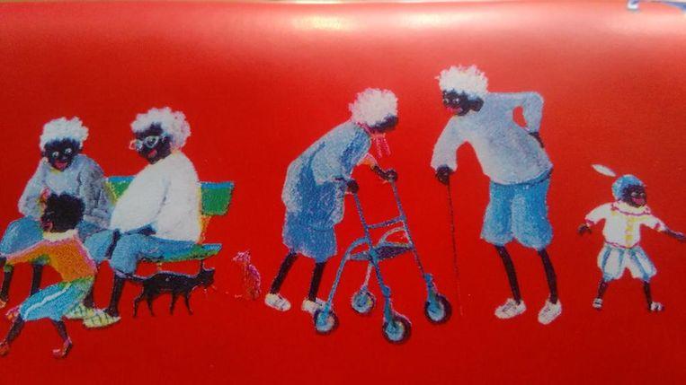Een van de prenten uit het boek: Zwarte Pieten met rollator.