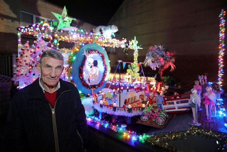 Gaston Sampson in december vorig jaar, bij het laatste kerstspektakel in zijn voortuin.