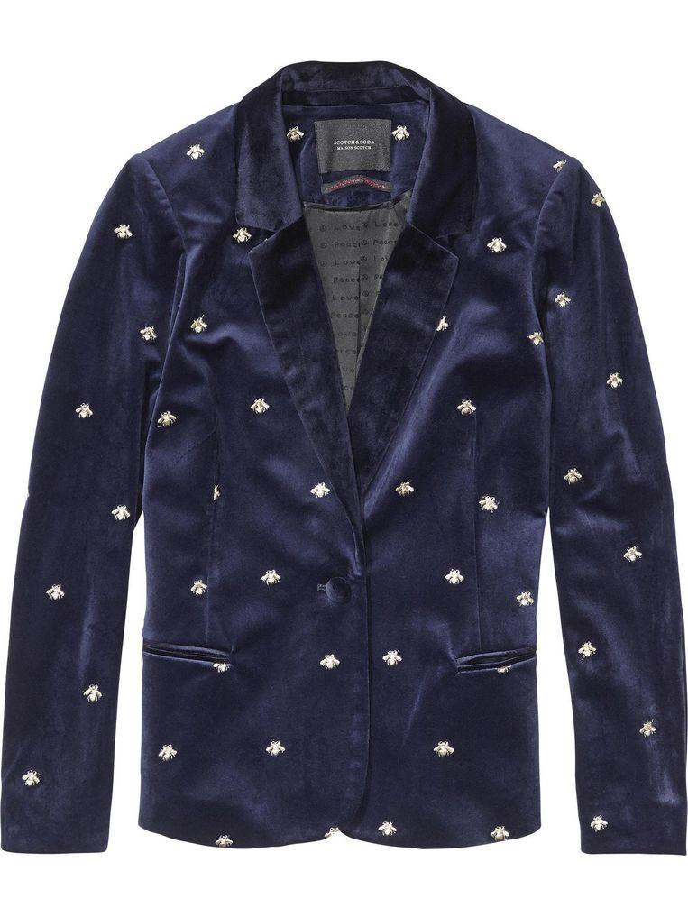 Donkerblauw jasje met bijenprint van Scotch & Soda, € 160 Beeld .