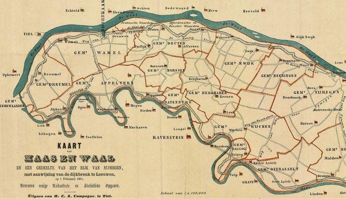 Historische kaart van het Land van Maas en Waal, eind negentiende eeuw.