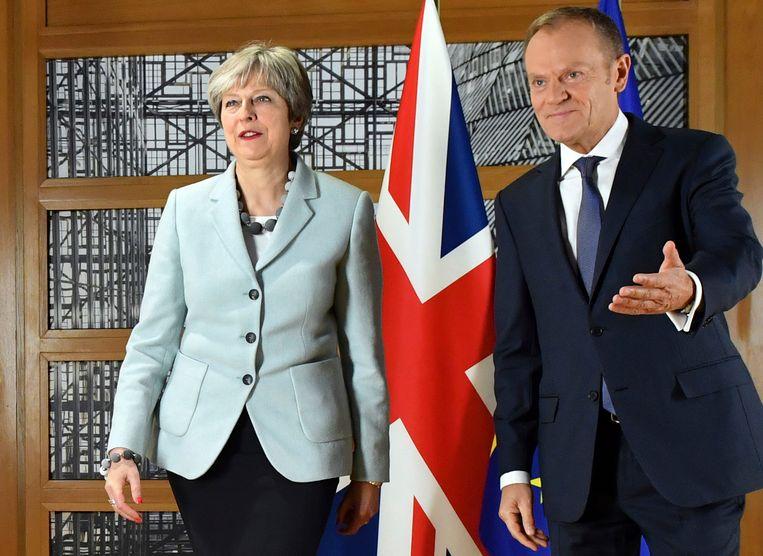 De Britse premier Theresa May met voorzitter van de Europese Raad, Donald Tusk, in Brussel.