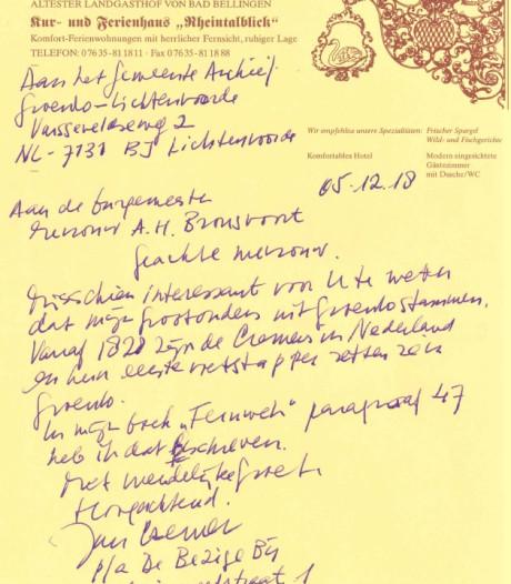 Hij, Jan Cremer, schreef een briefje over z'n roots in Groenlo