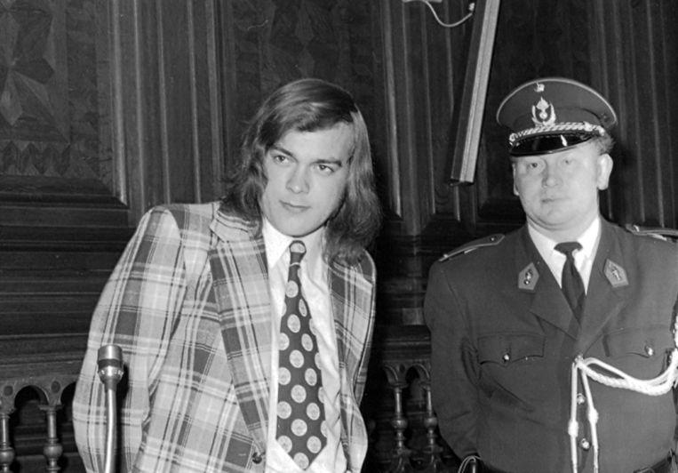Gustaaf  Van Eyken, de vampier van Muizen, tijdens zijn assisenproces in 1974.