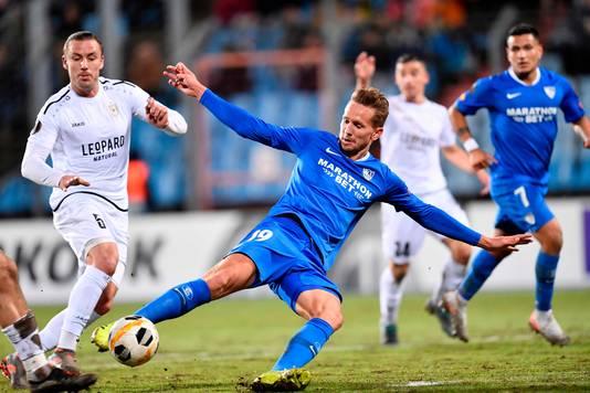 Sevilla-spits Luuk de Jong deed in de Europa League voorlopig alleen mee tegen Dudelange.