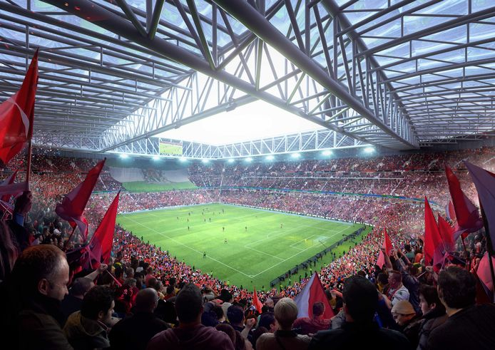 Het interieur van het nieuwe stadion.