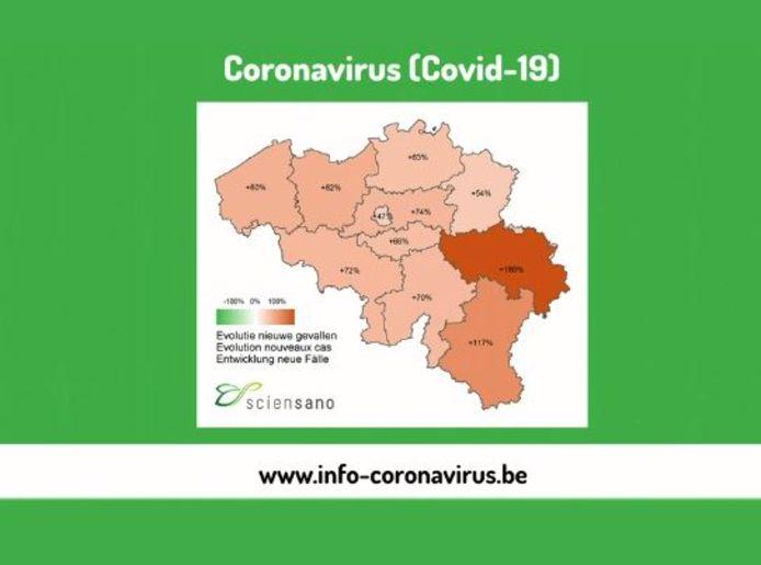 C'est la province de Liège qui est la plus touchée par l'évolution des cas actuellement