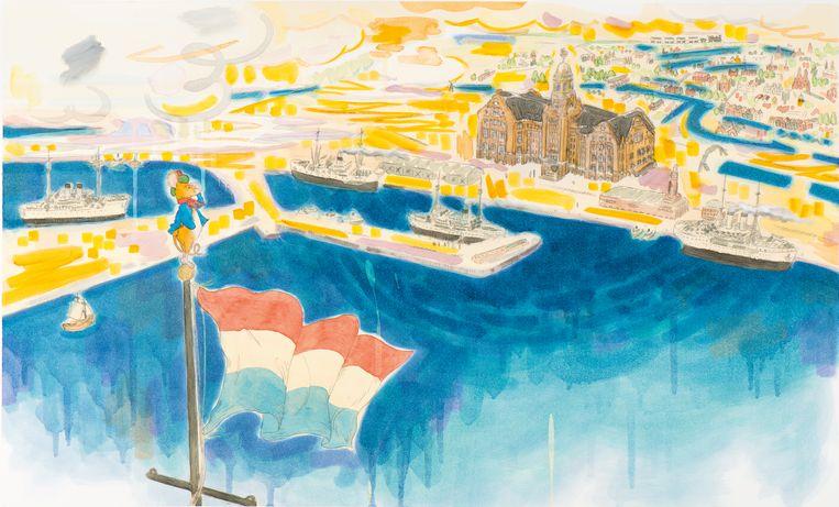 De Japanse kunstenaar Yasuyoshi Botan illustreerde het boek over het Lloyd Hotel.  Beeld Yasuyoshi Botan