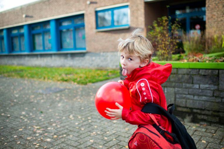 De kinderen zelf kwamen in rode outfits naar school.