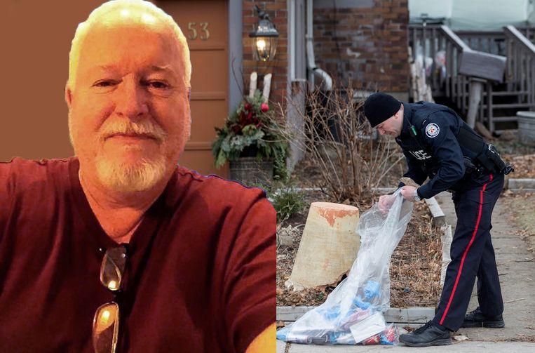 Archiefbeeld: de politie onderzoekt de tuin op Mallory Crescent, waar Bruce McArthur (links) zijn tuinmateriaal stalde.