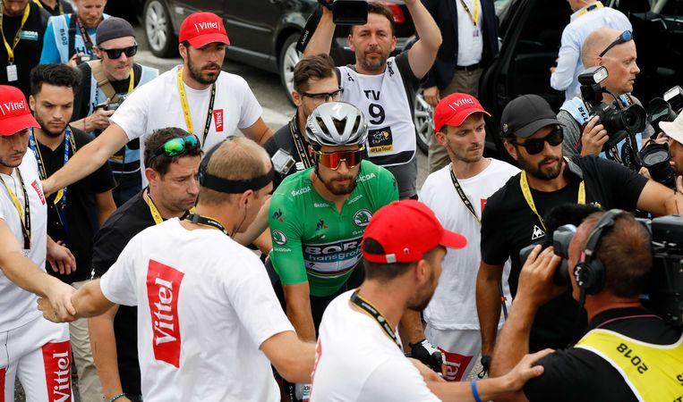 Peter Sagan na zijn overwinning tijdens de 13e etappe van de Tour de France tussen Bourg d'Oisans en Valence.  Beeld ANP