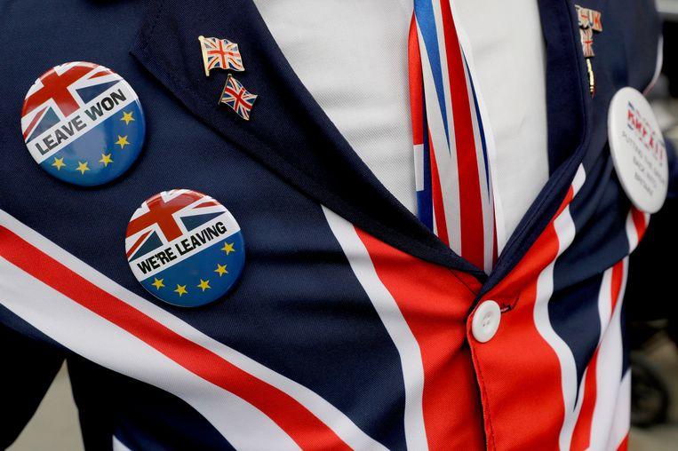 Het tenue van een pro-brexit-demonstrant voor het Britse parlement.  Beeld AP