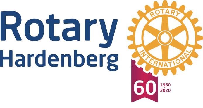 Jubileumlogo van de Rotary Hardenberg.
