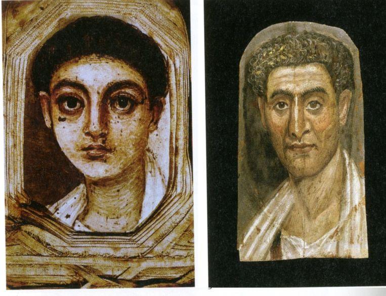 Mummieportretten: jongen 100-150 n.C. (Brits Museum, Londen); Demetrios, gestorven op 89-jarige leeftijd (Brooklyn Museum, New York) Beeld