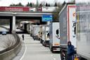 Een actie van vrachtwagenchauffeurs tegen een mogelijke kilometerheffing. Ook Sintobin is fel tegenstander van zo'n taks.
