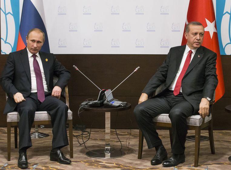 Poetin (L) en Erdogan tijdens de G20 in november. Beeld ap