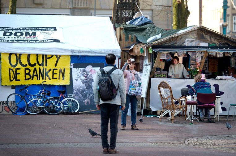 Het tentenkamp van Occupy Amsterdam. Beeld anp