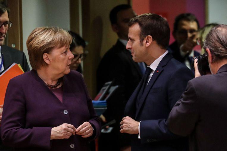 De Duitse bondskanselier Angela Merkel en de Franse president Emmanuel Macron.