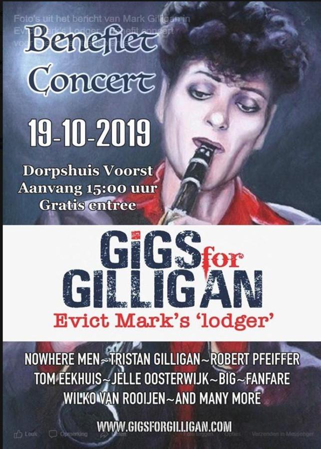 De poster van het benefietconcert in Voorst voor Mark Gilligan.