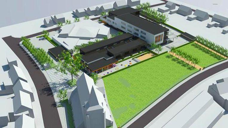 Een maquette toont hoe de nieuwe gemeenteschool van Ravels er zal uitzien.