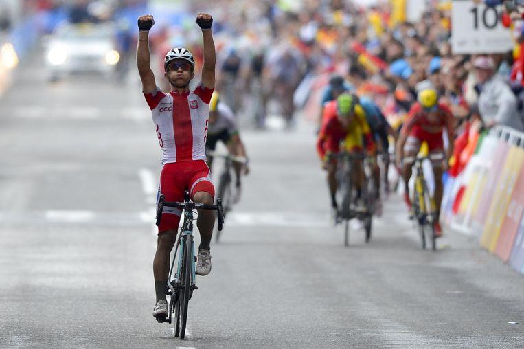 De Pool Michal Kwiatkowski kroonde zich gisteren tot wereldkampioen wielrennen op de weg. Beeld belga