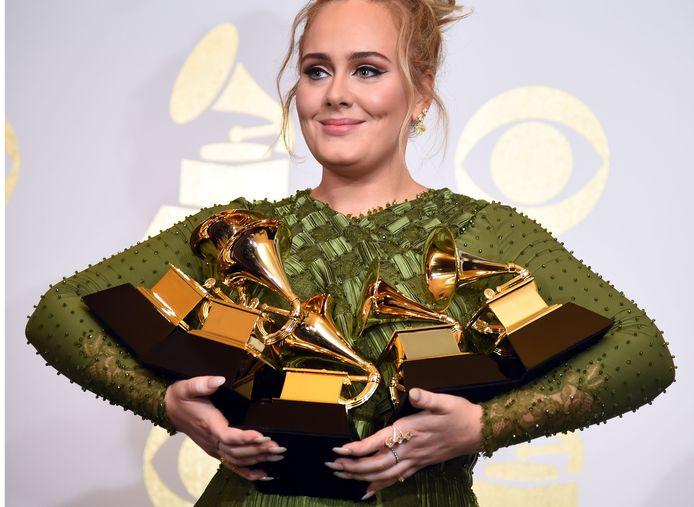 Adele tijdens de uitreiking van de Grammy's 2017.