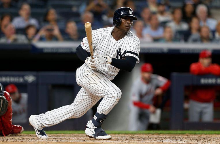 Didi Gregorius eerder dit jaar met New York Yankees tegen Los Angeles Angels. Beeld Getty Images